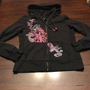 Lucky Brand hoodie. Black with floral detail.
